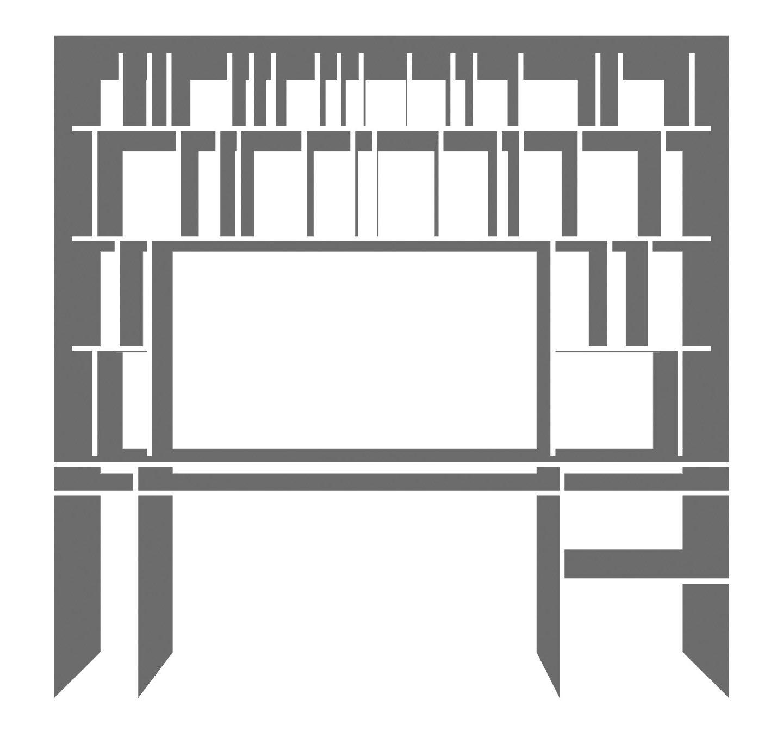 Platsbyggd måttbeställd hyllaskrivbord – ID Arkitektur